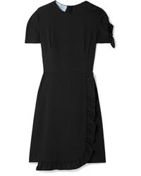 Prada Wrap Effect Ruffled Crepe Mini Dress