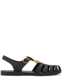 Gucci Black Buckle Strap Jelly Sandals