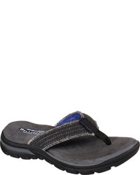 Skechers Boys Relaxed Fit Supreme Dunes Black Thong Sandals