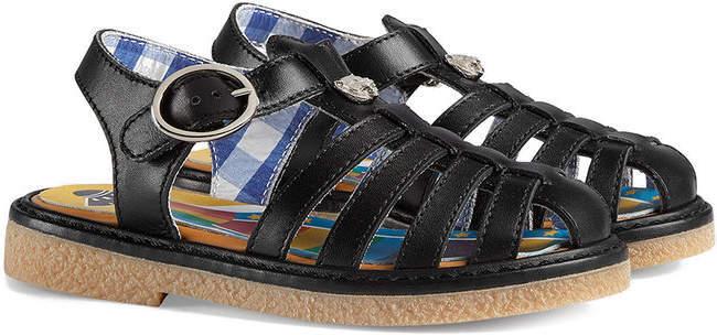 Gucci Kids Tiger Head Detail Sandals