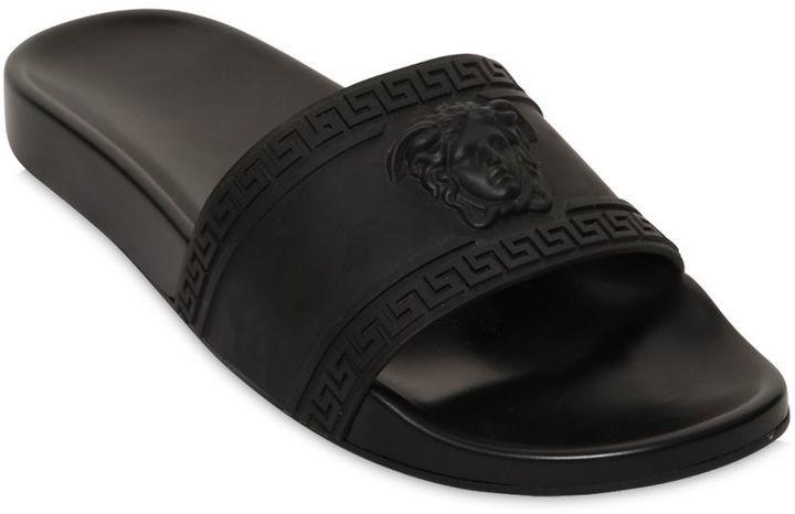 a259d7432af0 ... Black Sandals Versace Medusa Embossed Slide Sandals