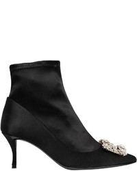 Roger Vivier 65mm Flower Silk Satin Ankle Boots