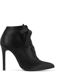 Pedro Garcia Ana Grosgrain Trimmed Satin Ankle Boots Black