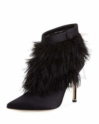 Manolo Blahnik Oterala Satin Feather Bootie