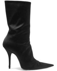 Balenciaga Satin Ankle Boots Black