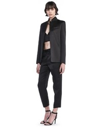 Alexander Wang Stretch Satin Collarup Open Blazer