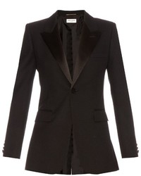 Saint Laurent Satin Lapel Single Breasted Wool Blazer