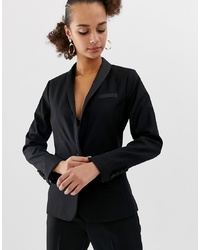 New Look Satin Tux Blazer In Black