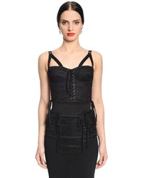 Dolce & Gabbana Lace Up Lace Satin Corset Top