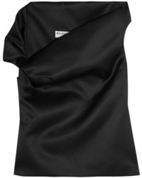 Balenciaga One Shoulder Satin Top Black