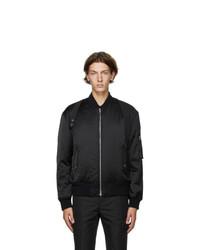Alexander McQueen Black Light Satin Harness Bomber Jacket