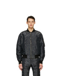 Givenchy Black Patch Wet Effect Bomber Jacket