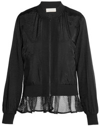 Mesh trimmed satin bomber jacket black medium 1191247