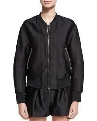 Satin bomber jacket w lacing detail black medium 3746129