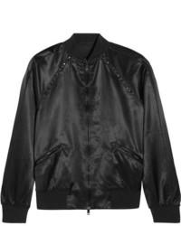 Valentino The Rockstud Embellished Satin Bomber Jacket Black