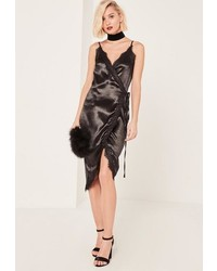 Missguided Black Lace Wrap Satin Cami Dress