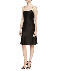Alice + Olivia Harmony Drapey Satin Cocktail Slip Dress Black