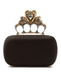 ab9825bfc2b3 ... Alexander McQueen Crystal Embellished Heart Satin Knuckle Clutch
