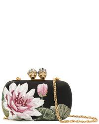 Alexander McQueen Floral Embroidered Satin Clutch