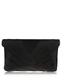 Nina Labreya Pleated V Flap Clutch Black