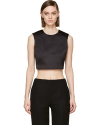 Black Satin Cropped Top