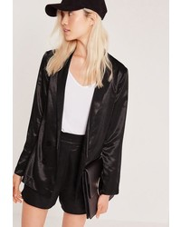 Missguided Premium Satin Double Breasted Blazer Black
