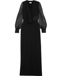 Lanvin Draped Crepe Silk Chiffon And Satin Gown Black