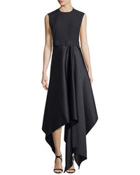 SOLACE London Harlech Sleeveless Crepe Satin Midi Dress Black