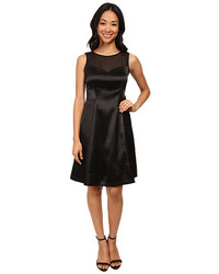 Black Satin Fit and Flare Dress