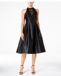 Adrianna Papell Embellished Illusion Fit Flare Dress
