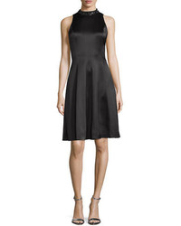 Kay Unger New York Embellished Neck Fit  Flare Dress Black