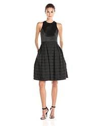 Carmen Marc Valvo Infusion Satin Novelty Stripe Fit And Flare Short Dress With Bugle Bead Choker Trim