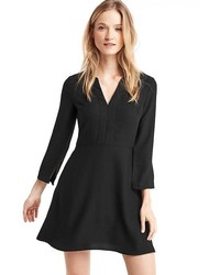 Gap Satin Fit Flare Split Neck Dress