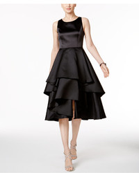 Adrianna Papell Satin Tiered Fit Flare Dress
