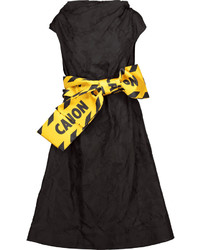 Moschino Satin Trimmed Pleated Jacquard Dress