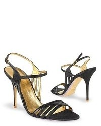 Black satin and leather cutout evening sandal shoes medium 79472