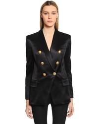 Balmain Oversized Double Breasted Satin Jacket