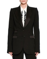 Dolce & Gabbana Turlington Satin Trim Two Button Jacket Black