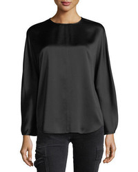 Black Satin Long Sleeve Blouse