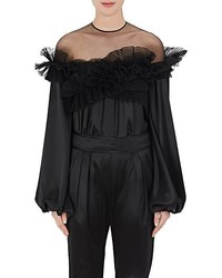 Givenchy Ruffle Silk Satin Blouse