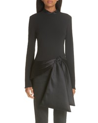 Brandon Maxwell Satin Tie Stretch Crepe Top