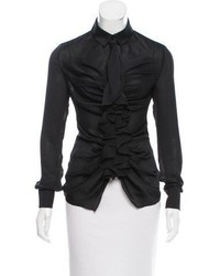 Givenchy Satin Zip Up Blouse