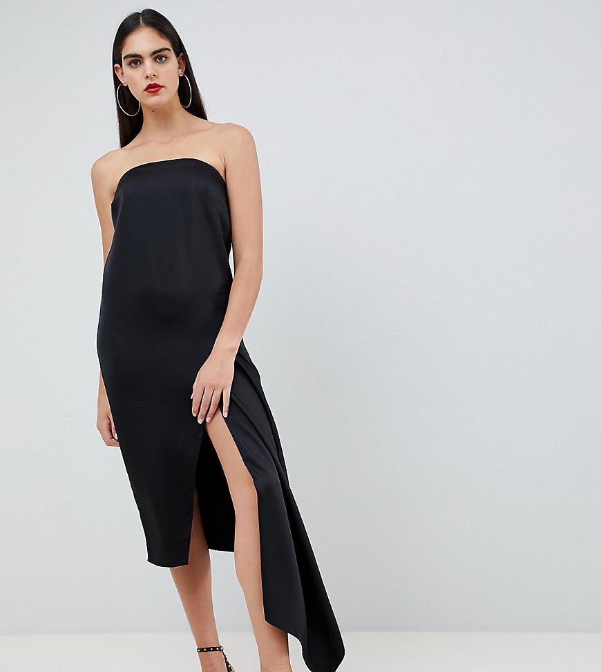 6e5b181fcbf8 ... Black Satin Midi Dresses Asos Tall Asos Design Tall Bandeau Satin Midi  Dress
