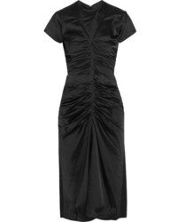 Isabel Marant Else Ruched Satin Midi Dress Black