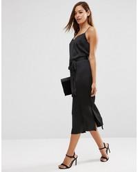 25bcfe8c0e2a9 Asos Midi Slip Dress In Satin With Tie Waist, $27   Asos   Lookastic.com
