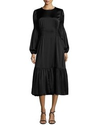 Ruched waist flounce midi dress black medium 874498