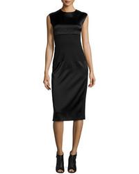DKNY Sleeveless Mixed Media Midi Dress Black