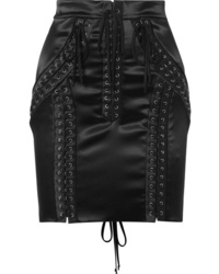 Dolce & Gabbana Lace Up Stretch Satin Mini Skirt