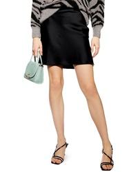 Topshop Satin Bias Cut Miniskirt