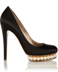 Nicholas Kirkwood Embellished Satin Pumps Black